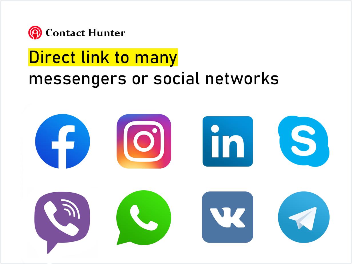 Direct link to many messengers or social networks